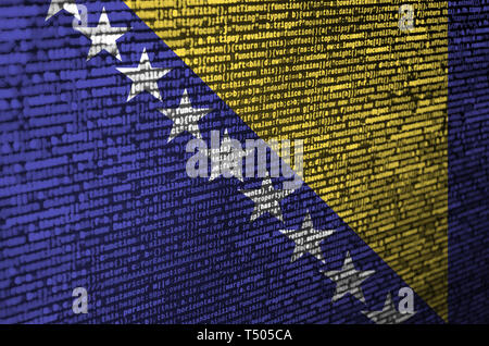 Bosnia and Herzegovina flag  is depicted on the screen with the program code. The concept of modern technology and site development. - Stock Image
