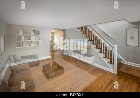 Virtual Staging For Real Estate Sale Faded To Show Post Processing Effect - Stock Image