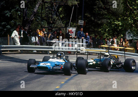 1969 Jean Pierre Beltoise French Matra MS80 3rd and Jack Brabham Australian Brabham BT26A dnf Wings, Montjuich Park - Stock Image