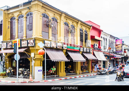 Phuket, Thailand - 26th April 2018: The Old Phuket Coffee shop. There are many cafes in the town catering to tourists. - Stock Image