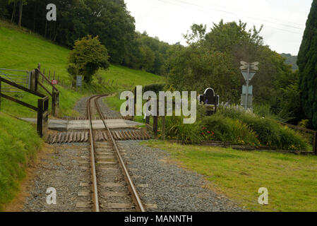 Rheidol Valley Railway, small level crossing near Nantyronen Station - Stock Image