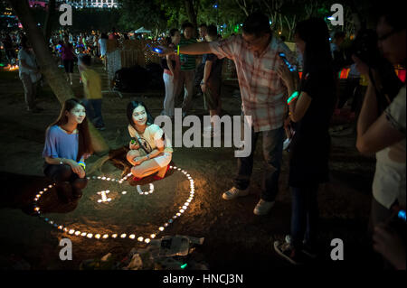 Mid-autumn festival celebrations in Victoria Park, Hong Kong - Stock Image