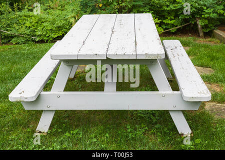 White painted wooden picnic table in residential backyard in summer - Stock Image