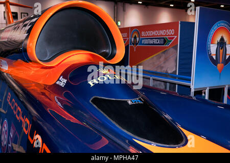 Close-up of the air-intake and cockpit of Bloodhound SSC, on display at the 2018 London Motor Show - Stock Image
