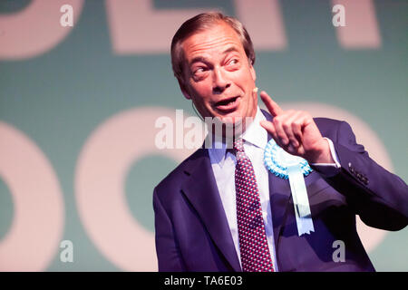 Nigel Farage, Leader of the Brexit Party, addressing a Rally at Olympia, London - Stock Image
