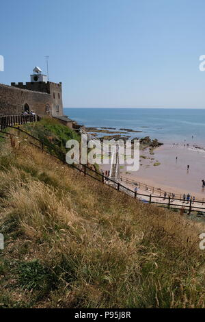 Jacob's Ladder and Clock Tower, and old limekiln which is now a cafe and viewpoint west of Sidmouth, East Devon, UK - Stock Image
