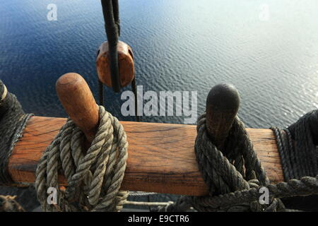 Belaying pins on a tall ship. - Stock Image