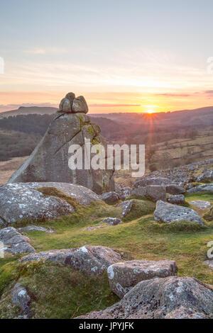 Cuckoo Rock Dartmoor National Park Devon Uk - Stock Image