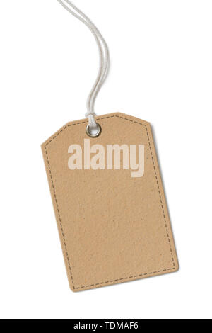 Blank brown paper label or cloth tag isolated - Stock Image