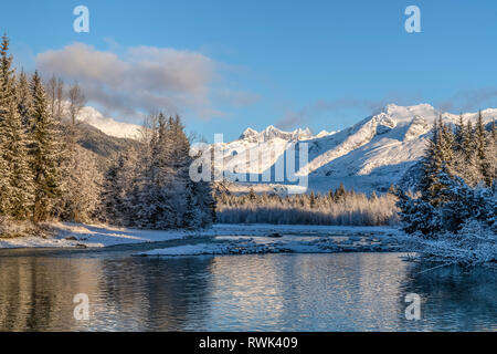 Mendenhall River on a winter morning, Mendenhall Towers, Tongass National Forest, Southeast Alaska; Alaska, United States of America - Stock Image