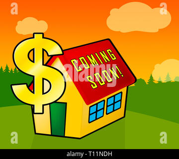 Coming Soon House Shows Upcoming Real Estate Property Available. Realty Ownership Project Upcoming - 3d Illustration - Stock Image