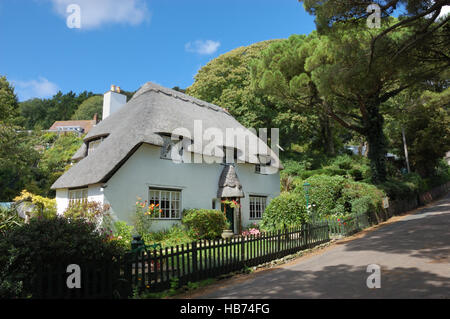 Thatched Cottage at St Lawrence on the Isle of Wight - Stock Image