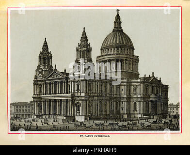 St Paul's Cathedral, 1880 high quality steel engraving of the church built by Christopher Wren and finished in 1715 after the Great Fire of London in 1666 destroyed the Medieval building - Stock Image