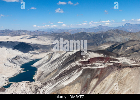 volcanco vent lava flow crater lake Andes Chile - Stock Image
