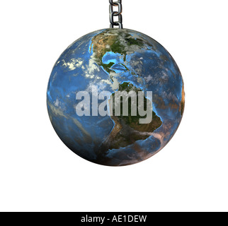 globe on a chain - Stock Image