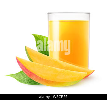 Isolated drink. Glass of mango juice and two slices of fresh fruit isolated on white background with clipping path - Stock Image
