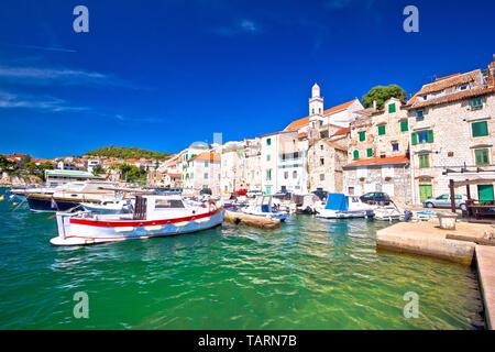 Tuurquoise waterfront of historic town of Sibenik, Dalmatia region of Croatia - Stock Image