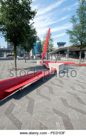 Rotterdam The Netherlands Park feature. Wind turbine blades upcycled and being used as park benches on the Rotterdam Quayside. - Stock Image