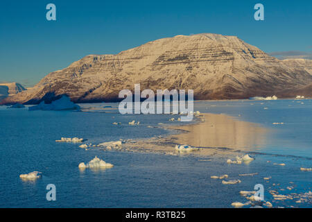 Greenland. Scoresby Sund. Gasefjord (Gooseford) icebergs and calm water. - Stock Image