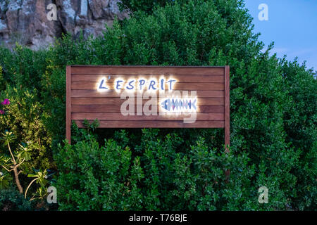 sign for a St Barts restaurant called L'Esprit at Saline Beach - Stock Image