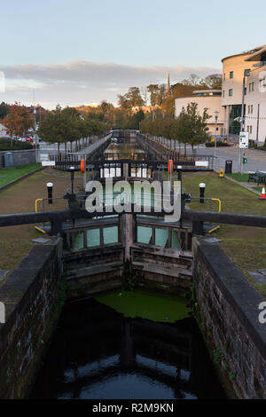 Canal Locks and Civic Centre at Lagan Valley Island, Lisburn, County Antrim, N.Ireland.(vertical) - Stock Image