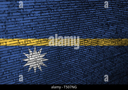 Nauru flag  is depicted on the screen with the program code. The concept of modern technology and site development. - Stock Image