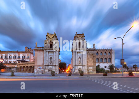 City gate Porta Felice, Palermo, Sicily, Italy - Stock Image