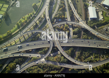 Aerial view of Spaghetti Junction near Birmingham also known as the Gravelly Hill Interchange where the M6 meets - Stock Image