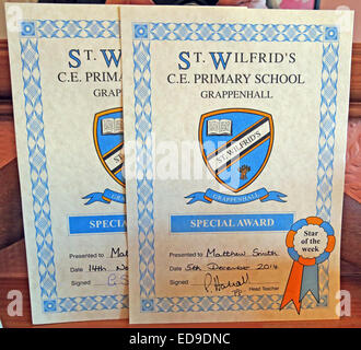 School special award certificate from primary school, St Wilfrids Grappenhall, Cheshire, England, UK - Stock Image