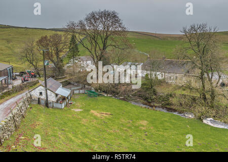 Dirt Pit farm, Upper Teesdale, North Pennines AONB, UK on a dull day in early December - Stock Image