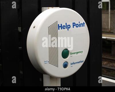 Help point at Shawford Railway Station,Hampshire, England, UK - Stock Image