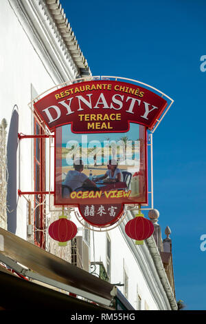 Dynasty Chinese Restaurant Sign In Lagos Old Town Portugal - Stock Image