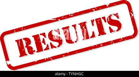 Results red rubber stamp vector isolated - Stock Image