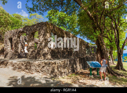 Soldiers Barracks. Fort Rodney, Pigeon Island, Gros Islet, Saint Lucia, Caribbean. - Stock Image