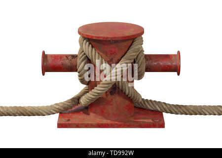 Mooring Nautical Bollard with Rope Sea Knot - Stock Image