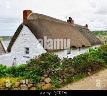 Thatched roof cottage,Sennen Cove,Cornwall,England,UK - Stock Image
