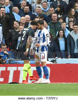 Kyle Walker of Manchester City pushes his head into Alireza Jahanbakhsh of Brighton during the FA Cup Semi Final match between Brighton & Hove Albion and Manchester City at Wembley Stadium . 6 April 2019 Photograph taken by Simon Dack  Editorial use only. No merchandising. For Football images FA and Premier League restrictions apply inc. no internet/mobile usage without FAPL license - for details contact Football Dataco - Stock Image
