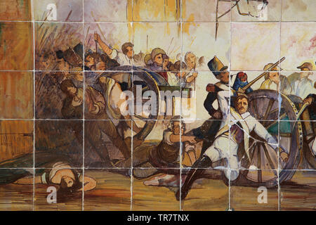 Second of May Uprising, 1808. Defense of the artillery park of Monteleon. Ceramics of Square of Spain. Seville. Spain. - Stock Image