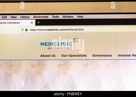 Mediclinic international, Mediclinic, Mediclinic website, Mediclinic homepage, Mediclinic online, medical private healthcare, private healthcare, web - Stock Image