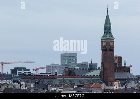 The city hall tower at Copenhagen City Hall seen from Christiansborg castle - Stock Image