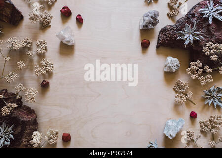 Native Flowers and Sage with Red Jasper and Quartz with Space for Copy - Stock Image
