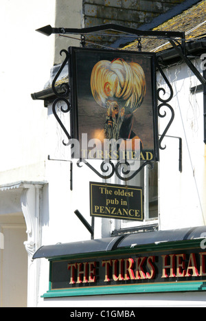 The Turks Head Public House, Penzance, Cornwall. The Oldest Pub in Penzance. - Stock Image
