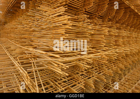 A stack of concrete steel reinforcing mesh - Stock Image