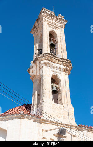 Bell tower of The Monastery of The Holy Cross (Timios Stavros), Omodos (Troodos Mountains), Limassol District, Republic of Cyprus - Stock Image