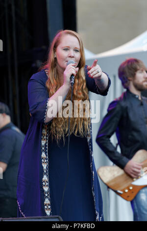 Montreal, Canada. 7th July 2018. Layla Zoe from B.C. performs on stage at the Montreal International Jazz Festival. Credit: richard prudhomme/Alamy Live News - Stock Image