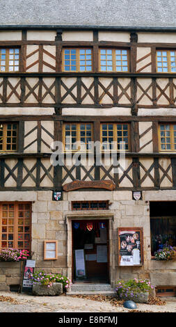very old building in the historic picturesque medieval town of Moncontour, Britt A very pretty hilltop, highly decorative - Stock Image