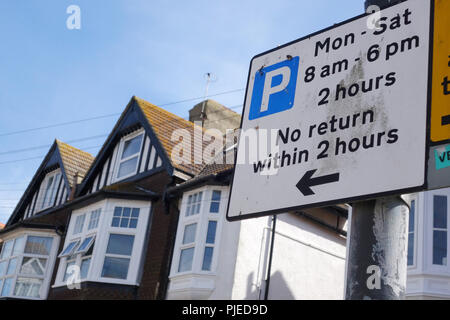 parking notice in Bexhill-on-sea, East Sussex, United Kingdom - Stock Image