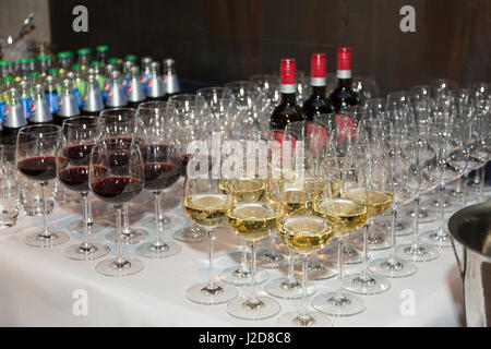 Czech Republic, Prague. Wine and glasses ready for tasting. Credit as: Wendy Kaveney / Jaynes Gallery / DanitaDelimont.com - Stock Image