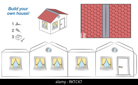 House paper model. Easy template - comic cottage with white walls and red roof. Cut out, fold and glue it - illustration on white background. - Stock Image