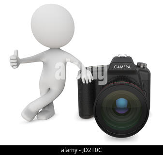 Dude 3D character the Photographer holding Thump Up next to SLR Camera. 3d Render. - Stock Image